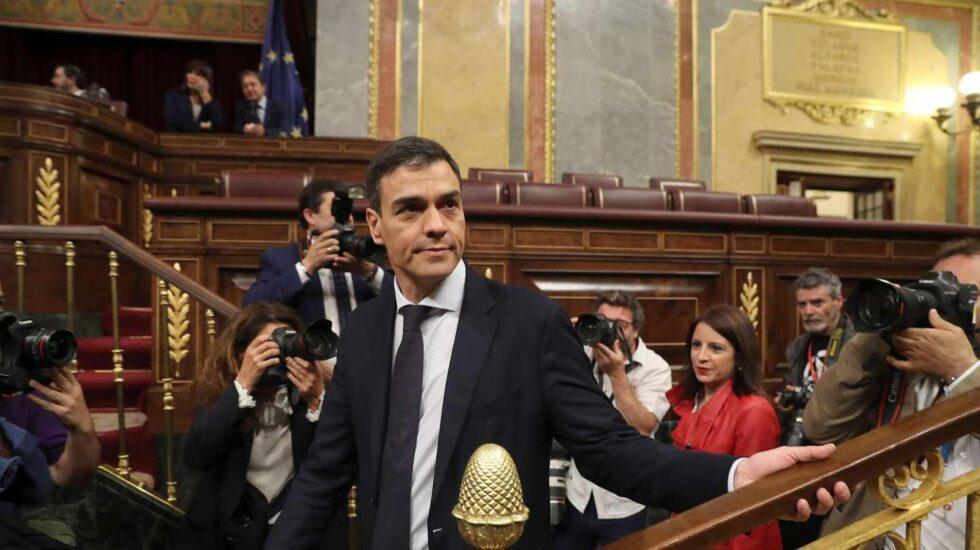Pedro Sánchez, a su llegada al hemiciclo.