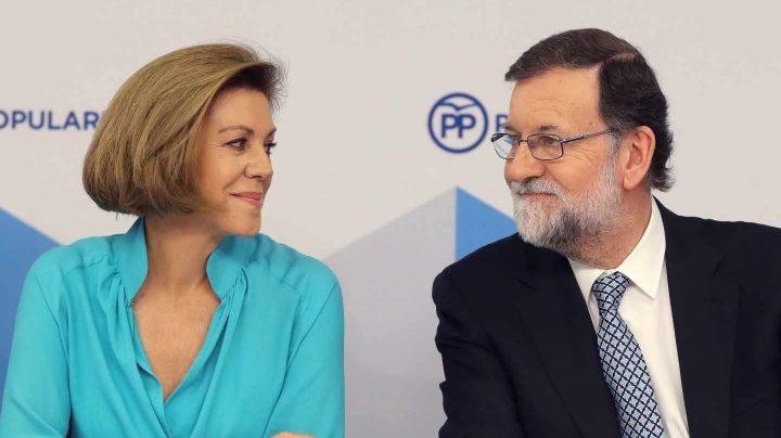 María Dolores de Cospedal y Mariano Rajoy en una reunión del comité ejecutivo del PP.
