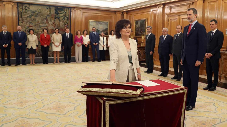 Carmen Calvo, durante su promesa del cargo