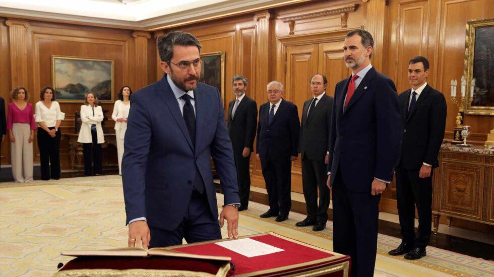 Máxim Huerta promete su cargo como ministro de Cultura y Deportes.
