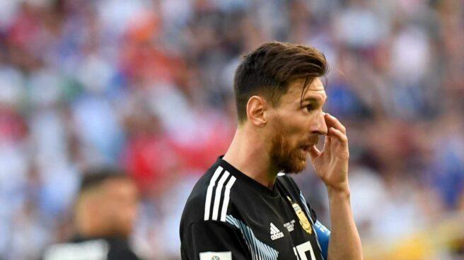 Lionel Messi, en el partido Argentina-Islandia.
