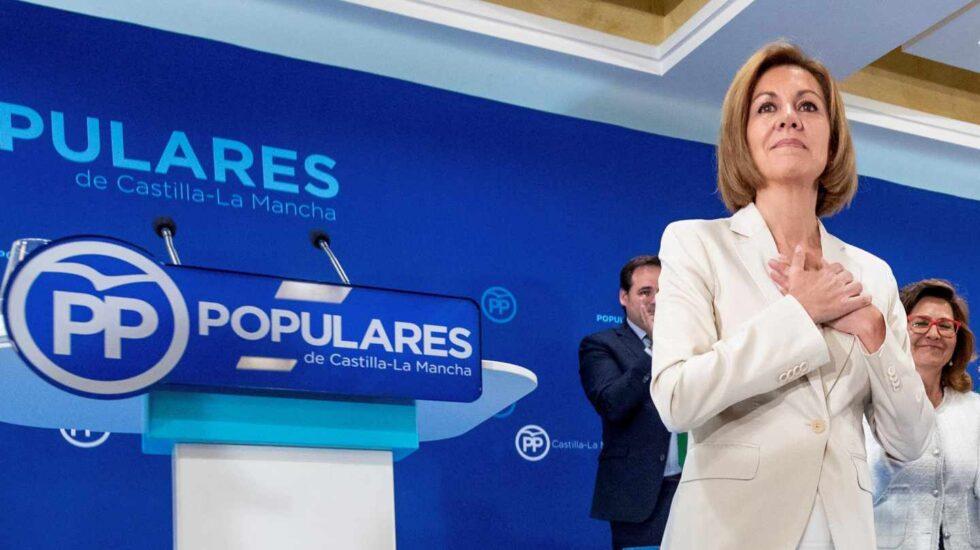 María Dolores de Cospedal el pasado martes en la Junta Directiva Regional
