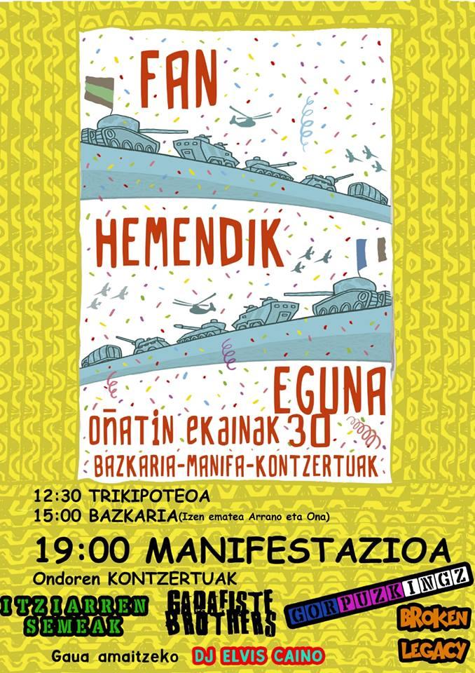 Cartel anunciador del 'Fan Hemendik', jornada en contra de la Guardia Civil, que se celebrará el sábado en Oñati (Guipúzcoa).