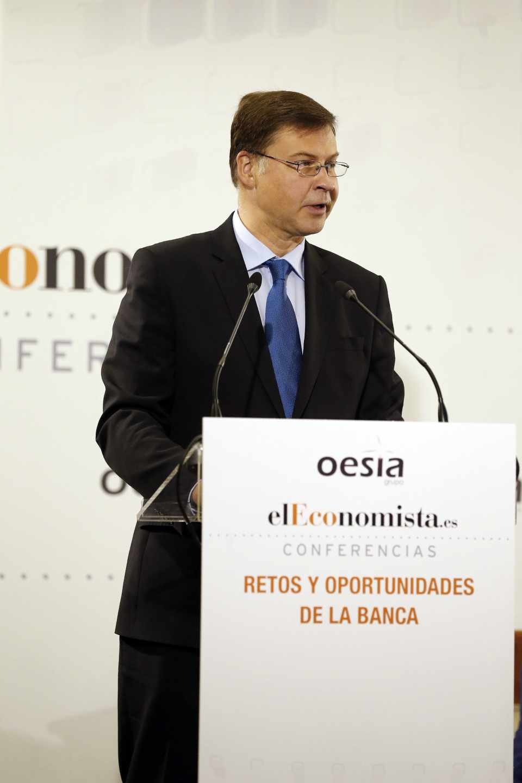 El vicepresidente de la Comisión Europea para el Euro, Valdis Dombrovskis.