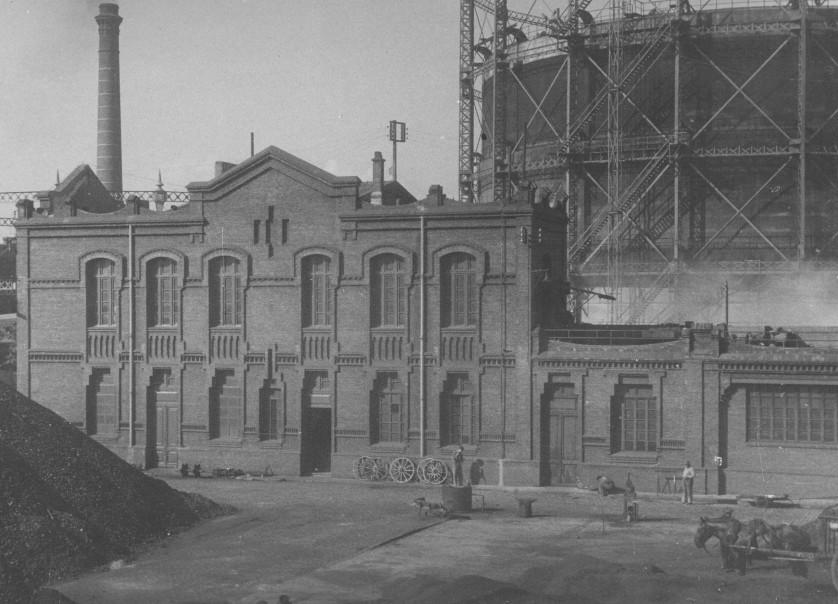 La primera planta de gas manufacturado de la entonces Sociedad Catalana para el Alumbrado por Gas.