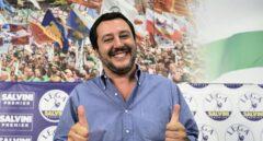 Matteo Salvini, líder de la Liga, tras una rueda de prensa en Milán.