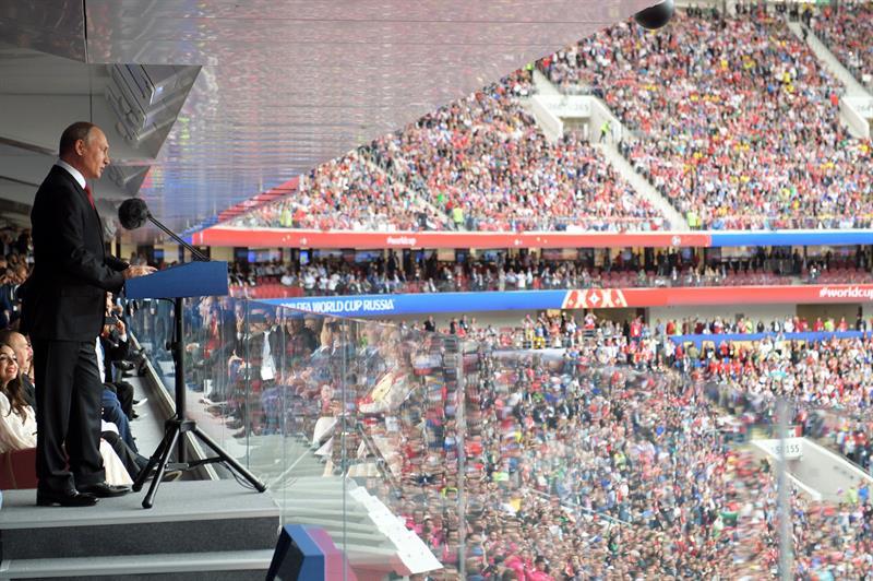 El presidente ruso, Vladimir Putin, en su intervención al inaugurar el Mundial 2018.