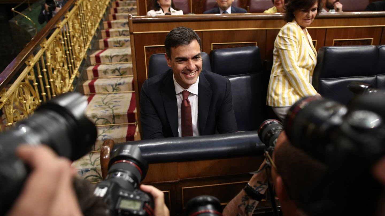 El presidente del Gobierno, Pedro Sánchez, en la sesión de control.