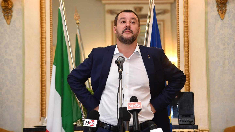 Matteo Salvini, durante una rueda de prensa en Génova.