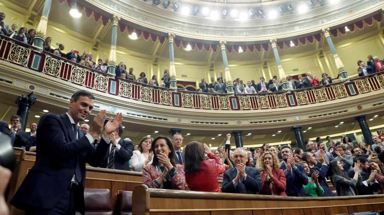Pedro Sánchez, tras ganar la moción de censura.