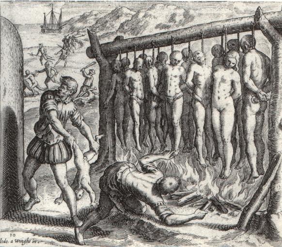Ilustración de Theodor de Bry (1528-1598) su obra es característica de la propaganda antiespañola que surgió en países protestantes como las Provincias Unidas e Inglaterra a finales del siglo XVI a raíz de la fuerte rivalidad comercial y militar con el Imperio español.