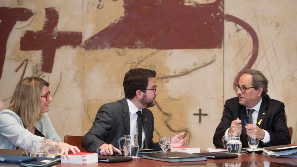 Elsa Artadi, Pere Aragonés y Quim Torra.