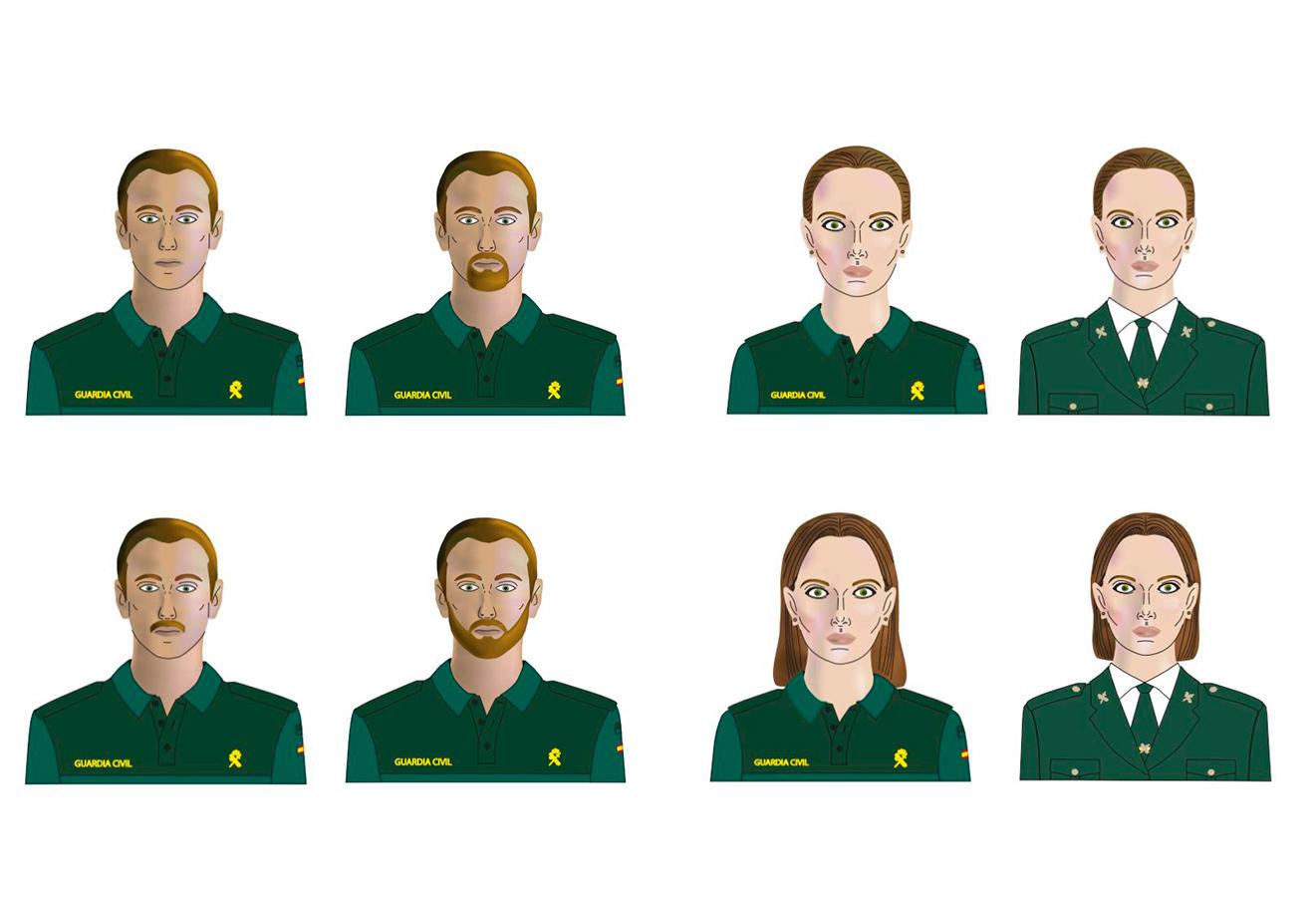 Infografías con la imagen física que deberán presentar los guardias civiles si se aprueba la orden elaborada por la dirección general del Cuerpo.