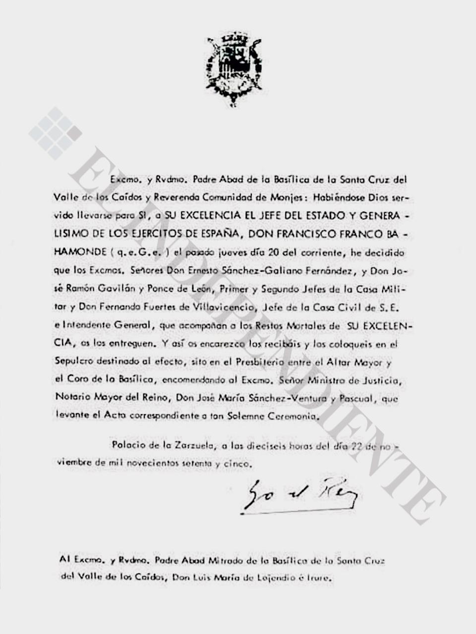 Carta de Juan Carlos I entregando los resto de Franco