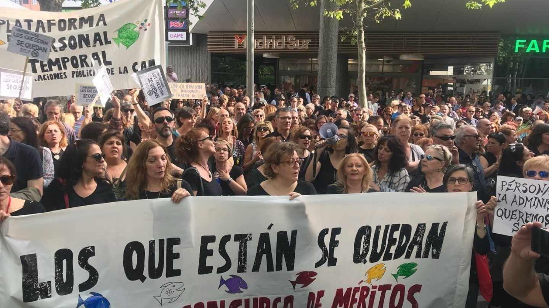 Concentración de trabajadores interinos en Madrid.