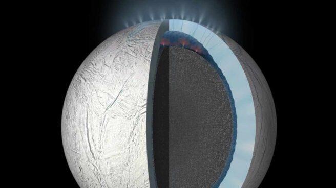 Chorros emanando del supuesto océano interior de Encélado