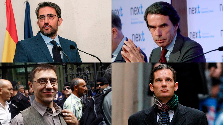 Màxim Huerta, José Mª Aznar, Juan Carlos Monedero, Iñaki Urdangarín