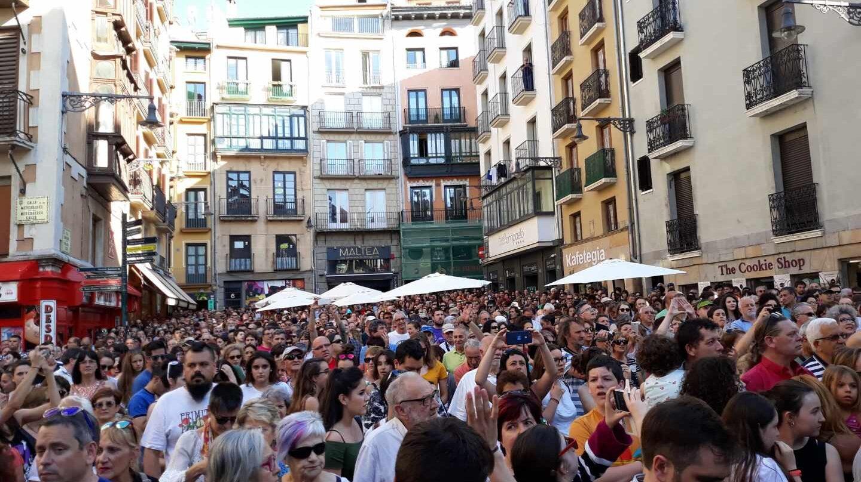 Concentración en Pamplona contra la libertad provisional de La Manada