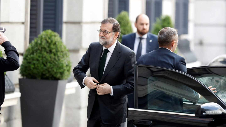 Mariano Rajoy, a su llegada al Congreso.