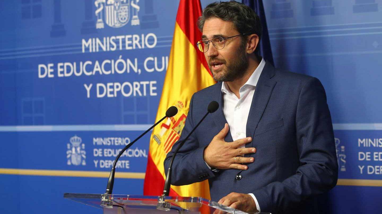 Màxim Huerta, durante la comparecencia de su dimisión.