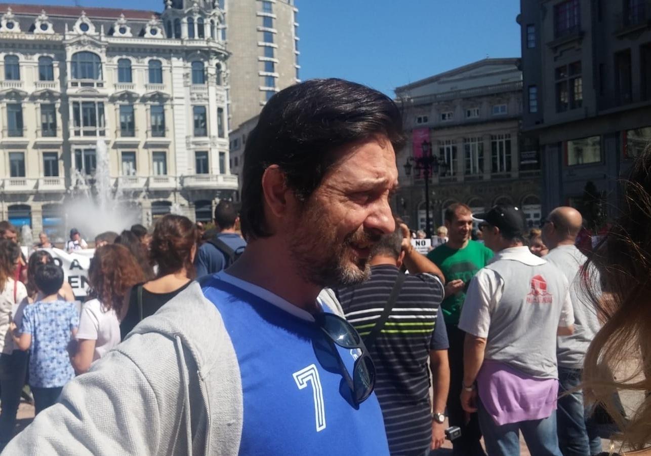 El diputado de Podemos Rafa Mayoral, este sábado en Oviedo.