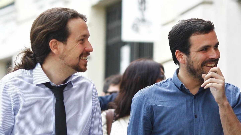 El líder de podemos, Pablo Iglesias, y el de Izquierda Unida, Alberto Garzón.