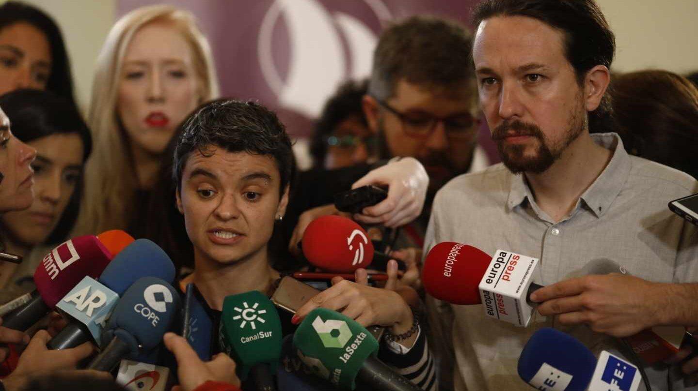 Pablo Iglesias, Yolanda Díaz y Lucía Martín comparecen antes de la reunión entre partidos aliados.
