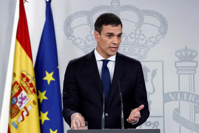 El presidente del Gobierno, Pedro Sánchez, durante la presentación de sus ministros.