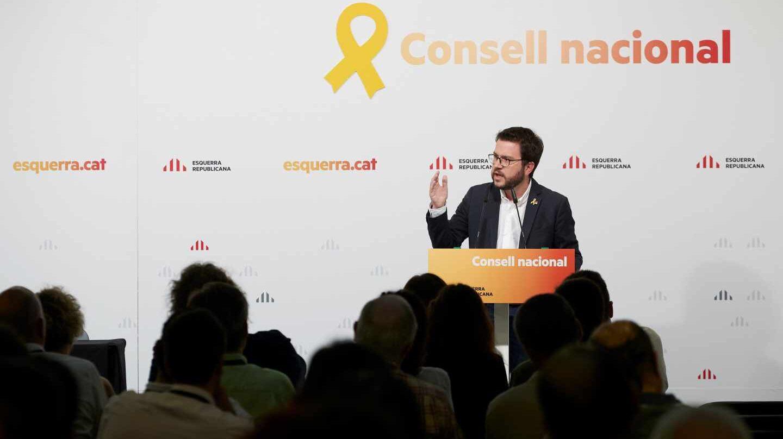 Pere Aragonès, en el Consell Nacional de ERC.