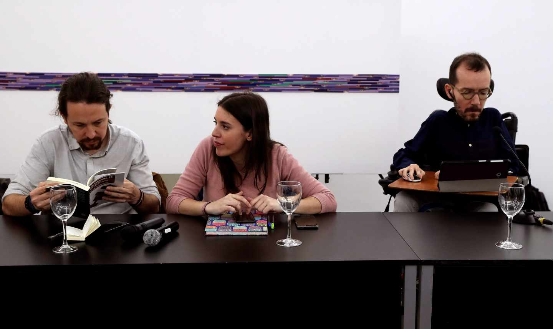 Pablo Iglesias, Irene Montero y Pablo Echenique.