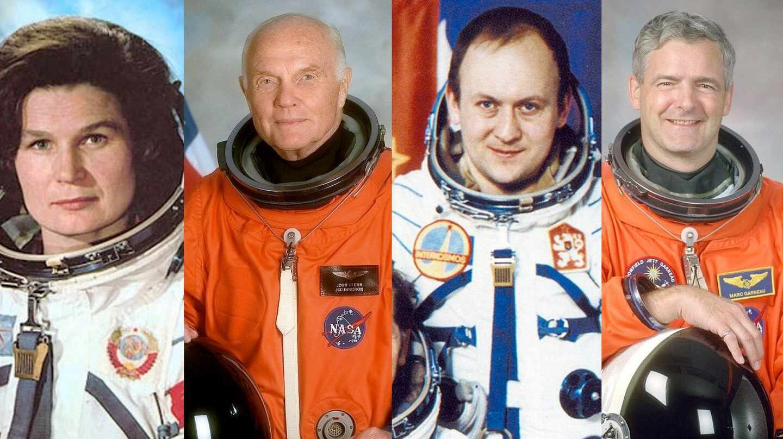 Valentina Tereshkova, John Glenn, Vladimir Remek y Marc Garneau, astronautas y políticos