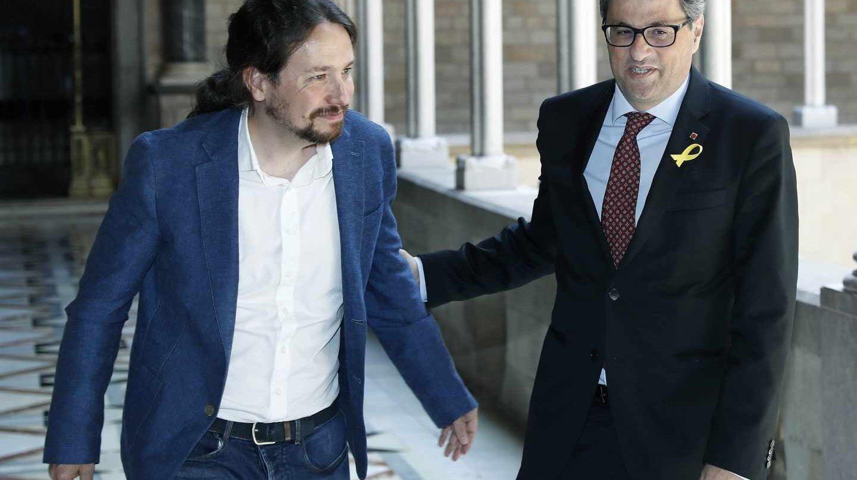Pablo Iglesias y Quim Torra, en el Palau de la Generalitat.