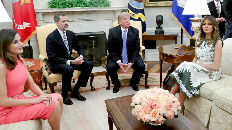 Felipe Vi y la reina Letizia, con Donald Trump y Melania en la Casa Blanca.