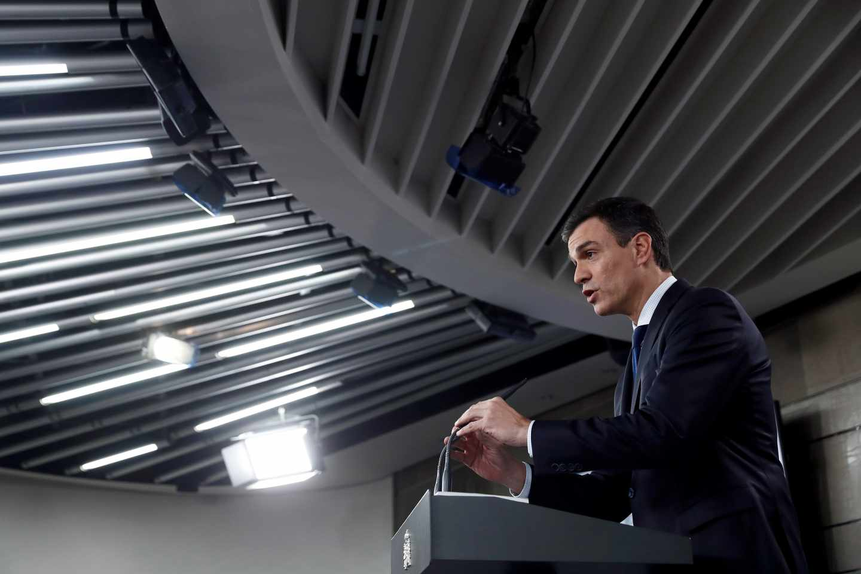 Pedro Sánchez, presidente del Gobierno, en una comparecencia informativa en La Moncloa.