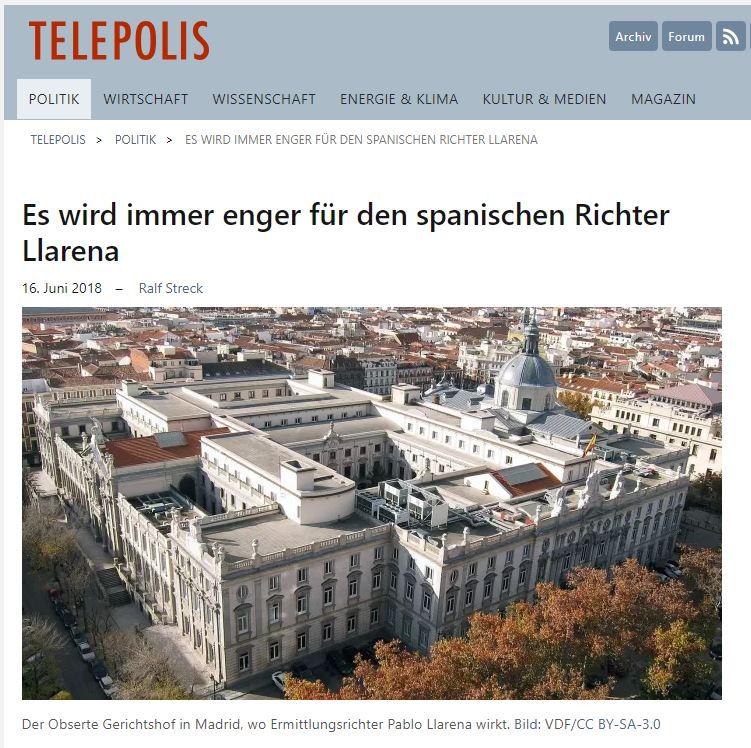 Publicación alemana que cita la prensa independentista en Cataluña.