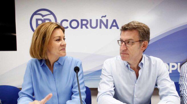 Cospedal y Feijóo durante esta campaña de primarias