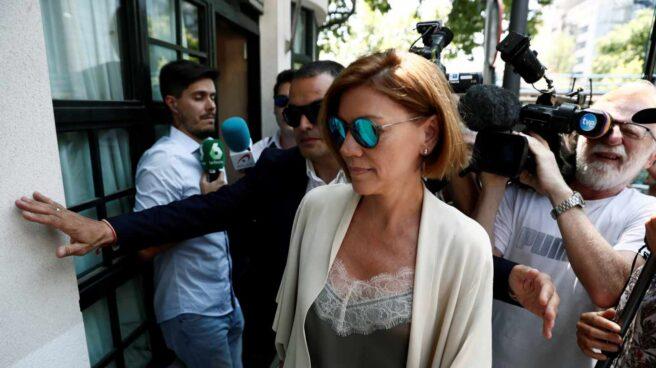María Dolores de Cospedal a su llegada al almuerzo con Casado y el G-8