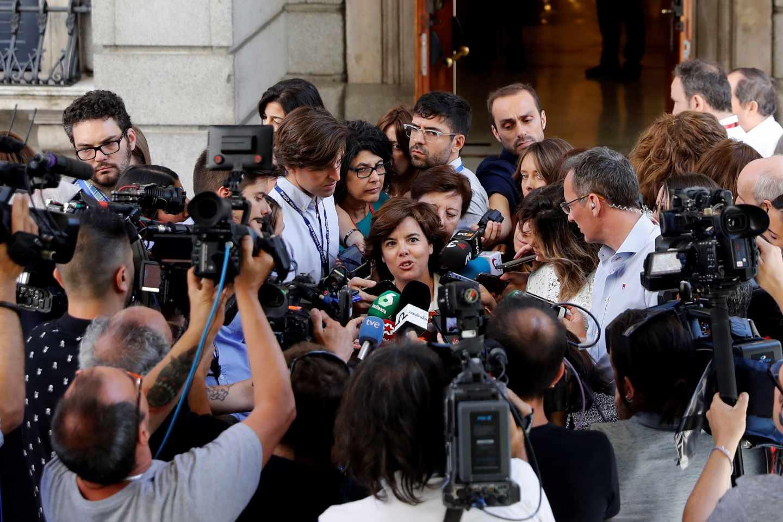 Sáenz de Santamaría tras su reunión con Casado el pasado miércoles