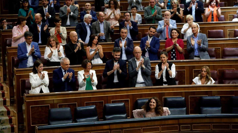 La bancada del PSOE en el Congreso.
