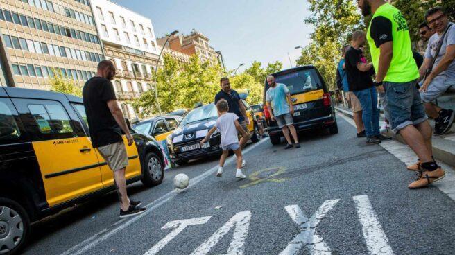 Huelga de taxistas en Barcelona.
