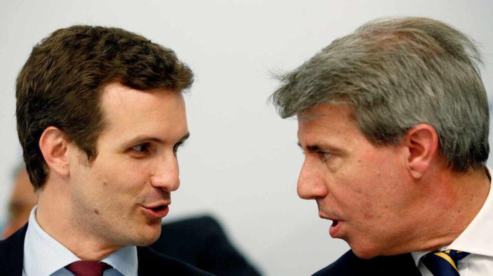 Pablo Casado y Ángel Garrido, en la reunión del PP de Madrid.
