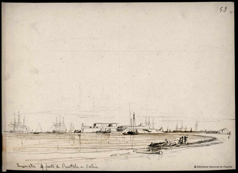 Ensenada del fuerte de Puntales en Cádiz. 1843-1899. Rafael Monleón y Torres