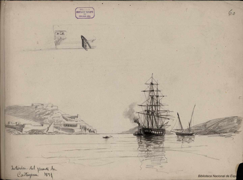 Interior Puerto de Cartagena. 1871. Rafael Monleón y Torres