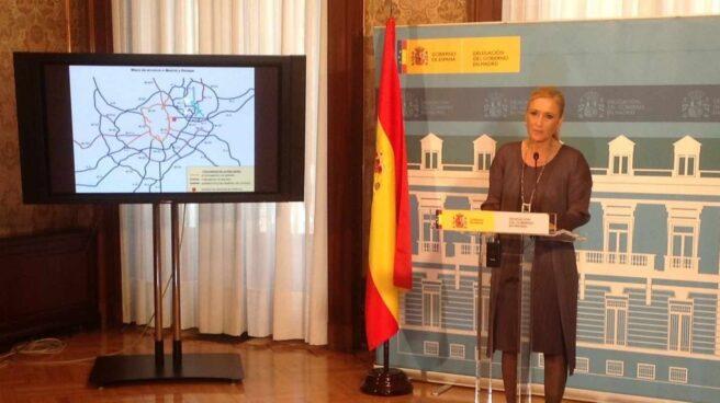 Cristina Cifuentes, en una comparecencia informativa durante su etapa como delegada del Gobierno en Madrid.