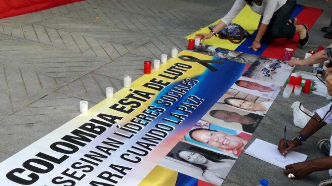 Manifestación en Madrid contra los crímenes de activistas colombianos