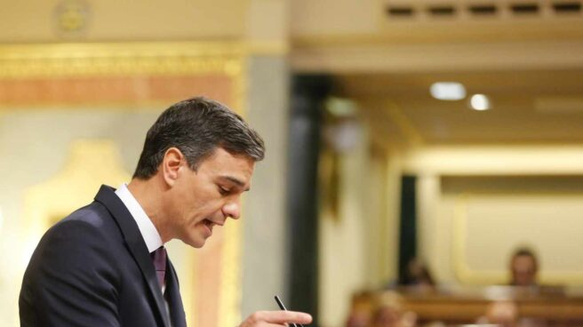 Pedro Sánchez, en la tribuna del Congreso.