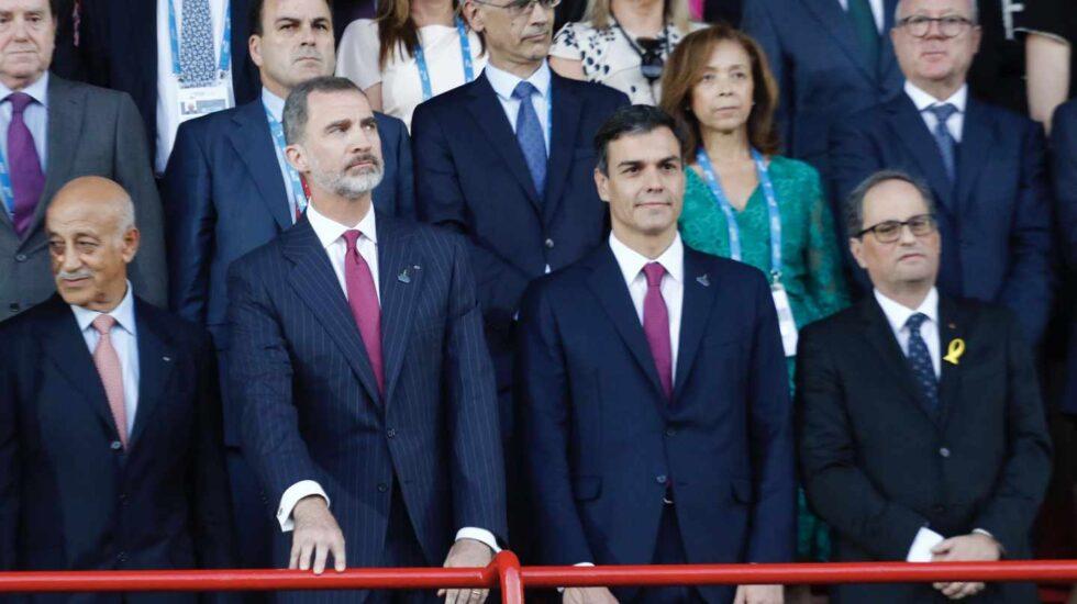 Pedro Sánchez y Quim Torra, junto al Rey en Tarragona.