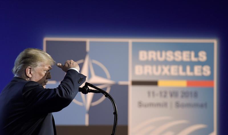 Donald Trump, en rueda de prensa en Bruselas.