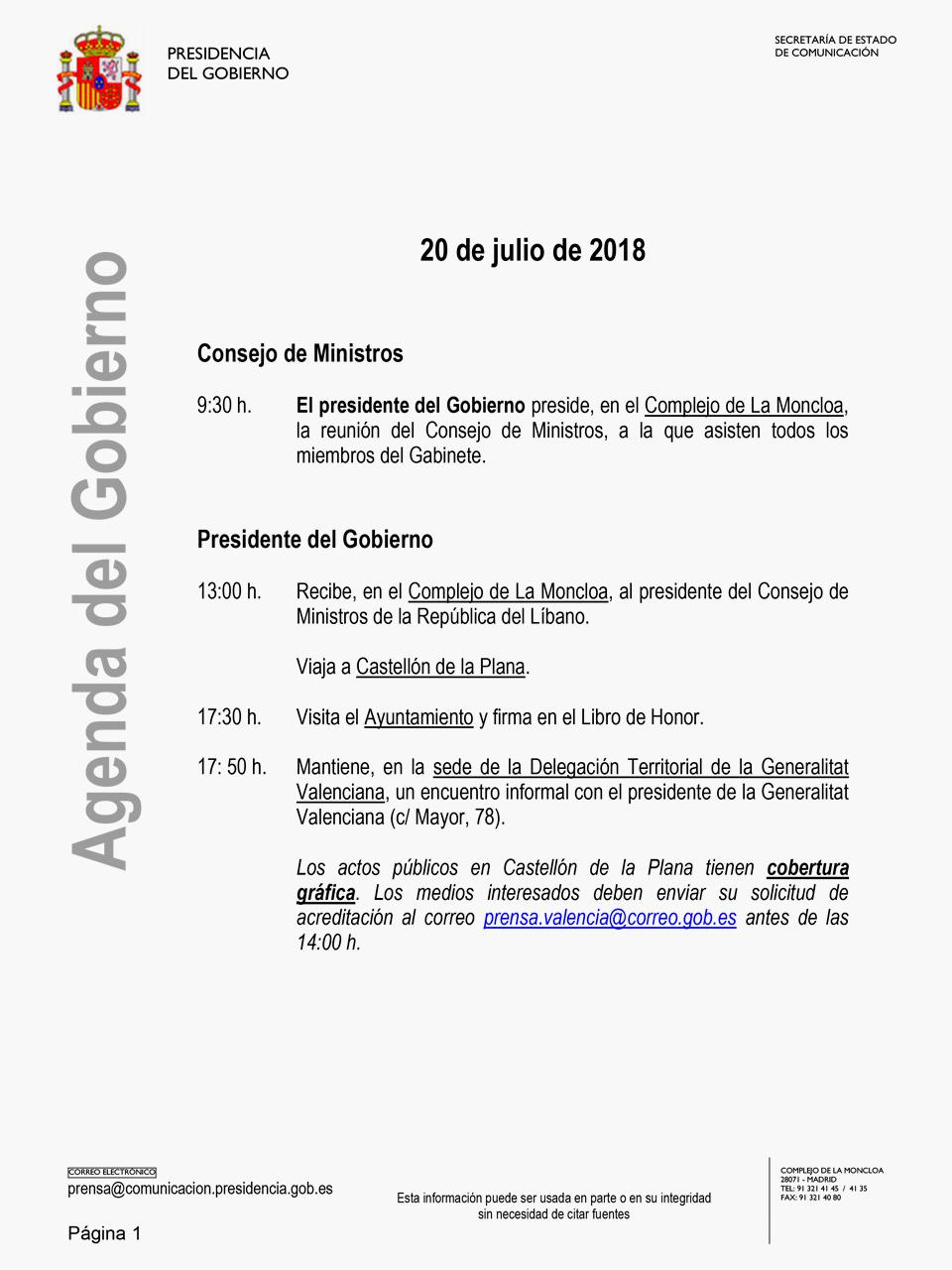 Agenda oficial del Presidente del Gobierno el día 20 de julio de 2018