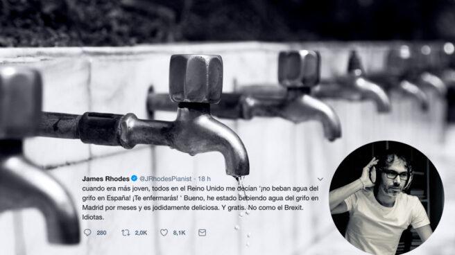 Tuit de James Rhodes alabando el agua del grifo de Madrid